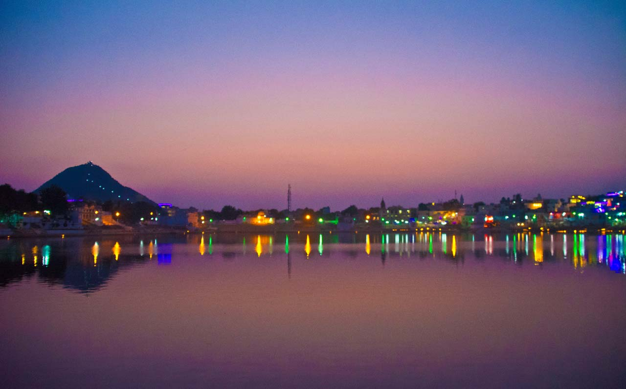 Ghats of Pushkar lake sunset