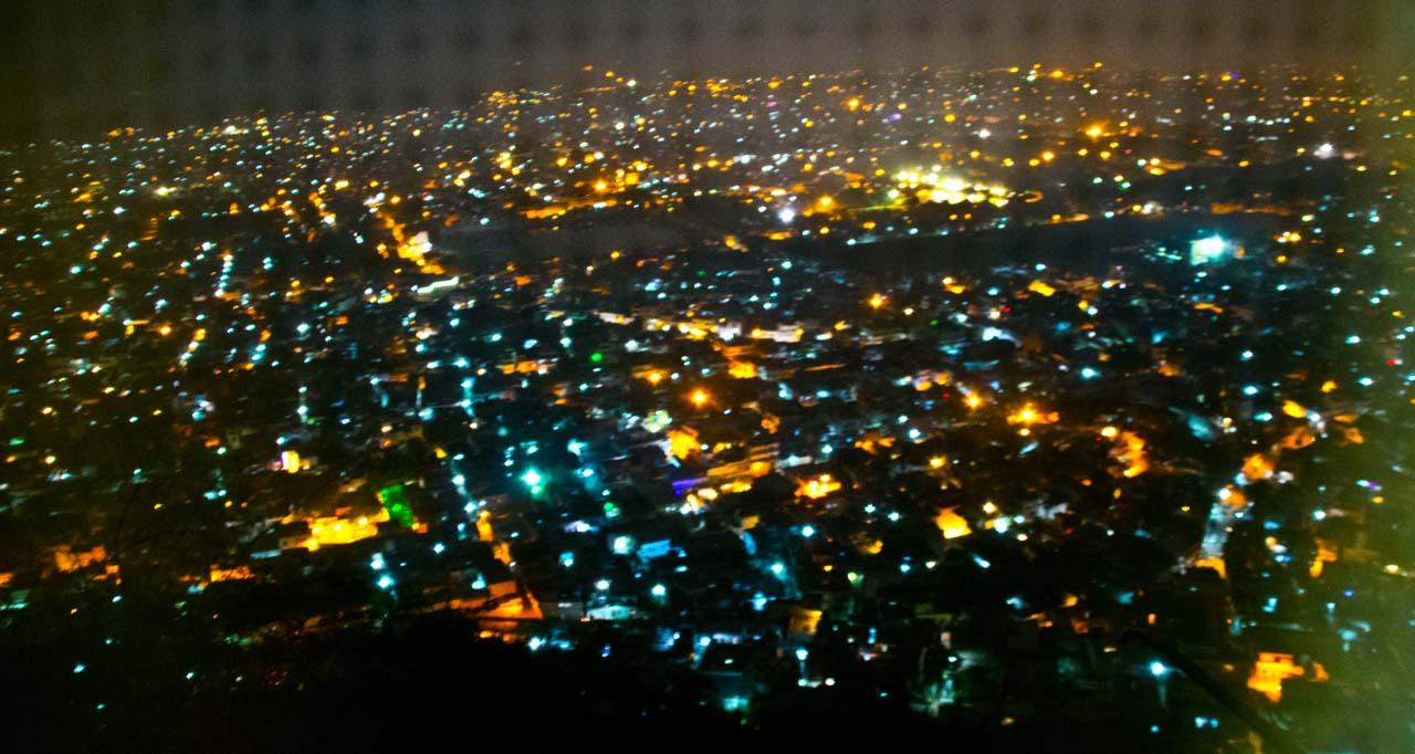 Jaipur by night overview from Nahargarh Fort