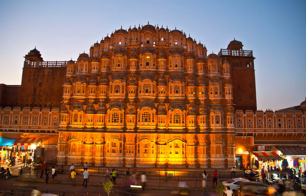 Jaipur by night Hawa Mahal