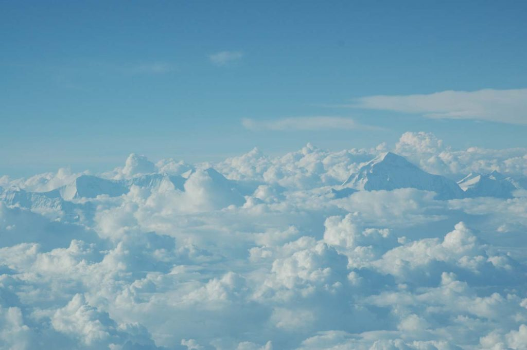 View of Mount Everest from flight