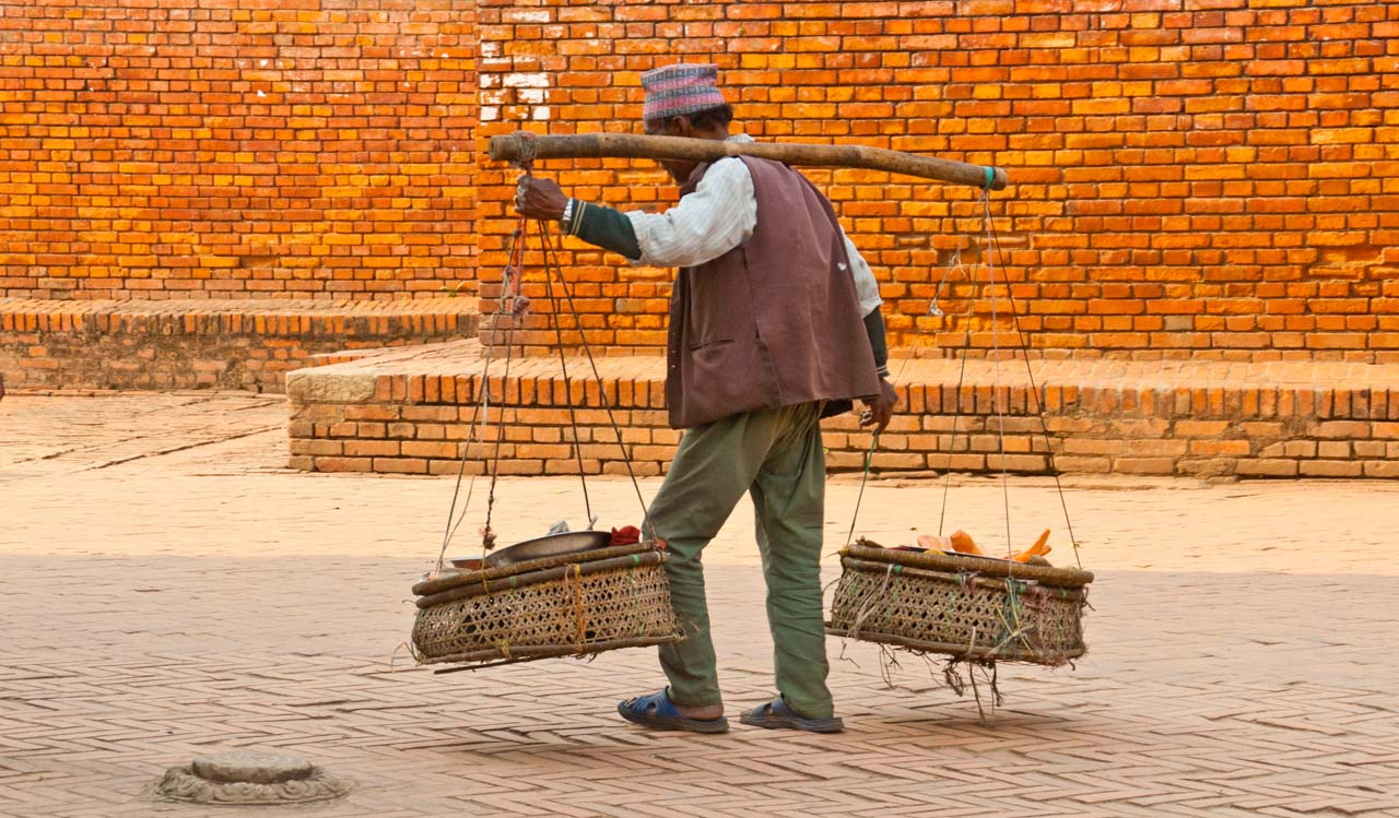 Man in Market outside Pashupatinath temple in Kathmandu Nepal