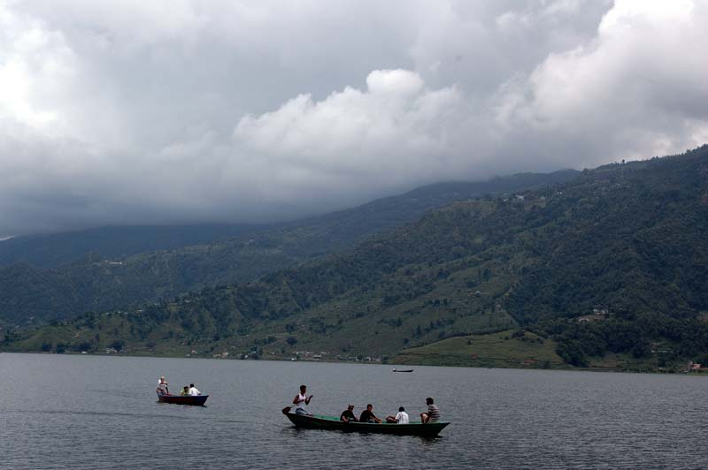 Boating in Phewa Lake Pokara Nepal