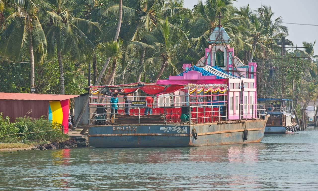 Floating church in Kerala Backwaters