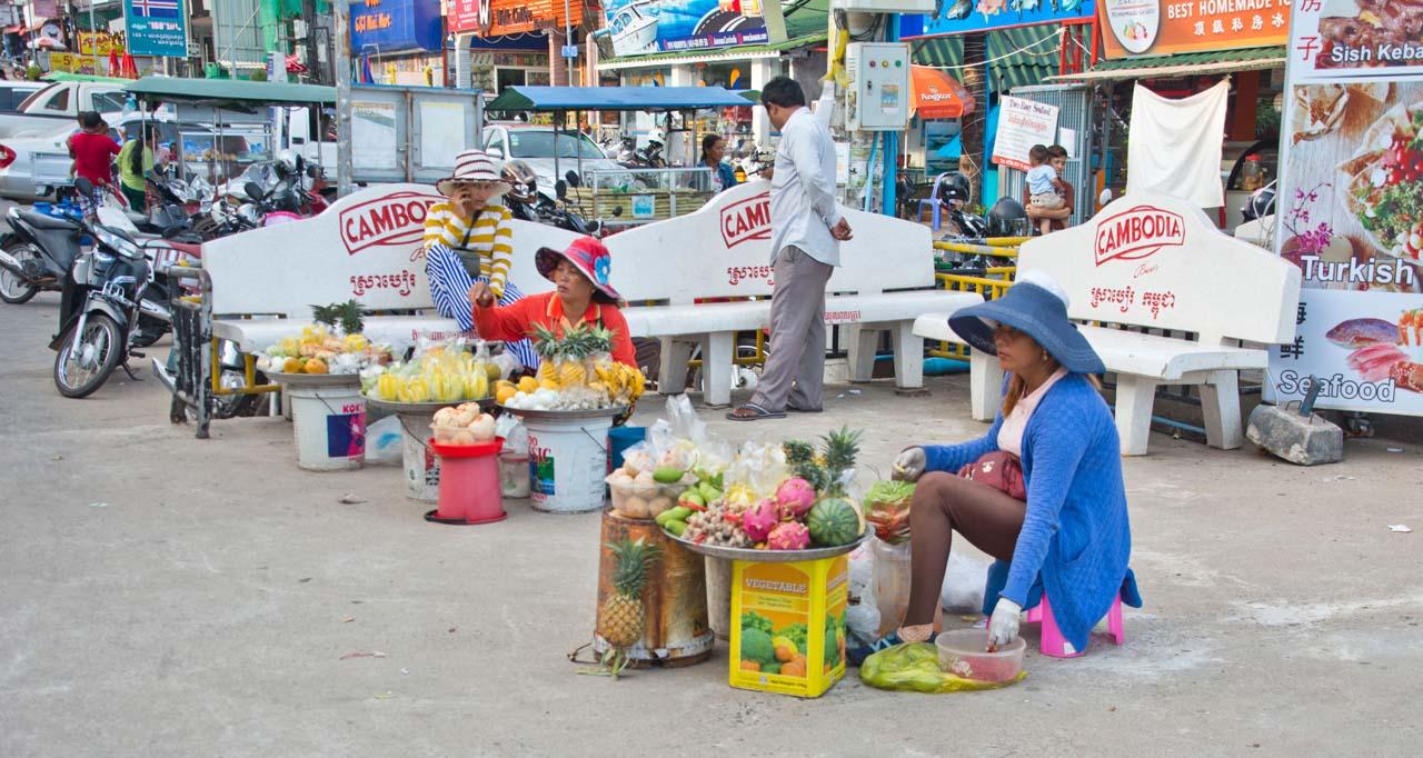 Fruit seller at Serendipity beach Cambodia