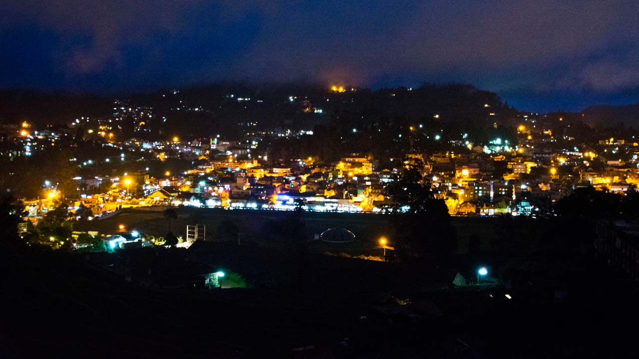 View from room in Ooty around night