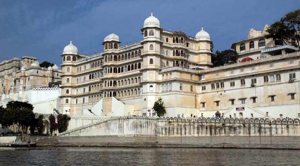 City palace view from lake pichola Udaipur