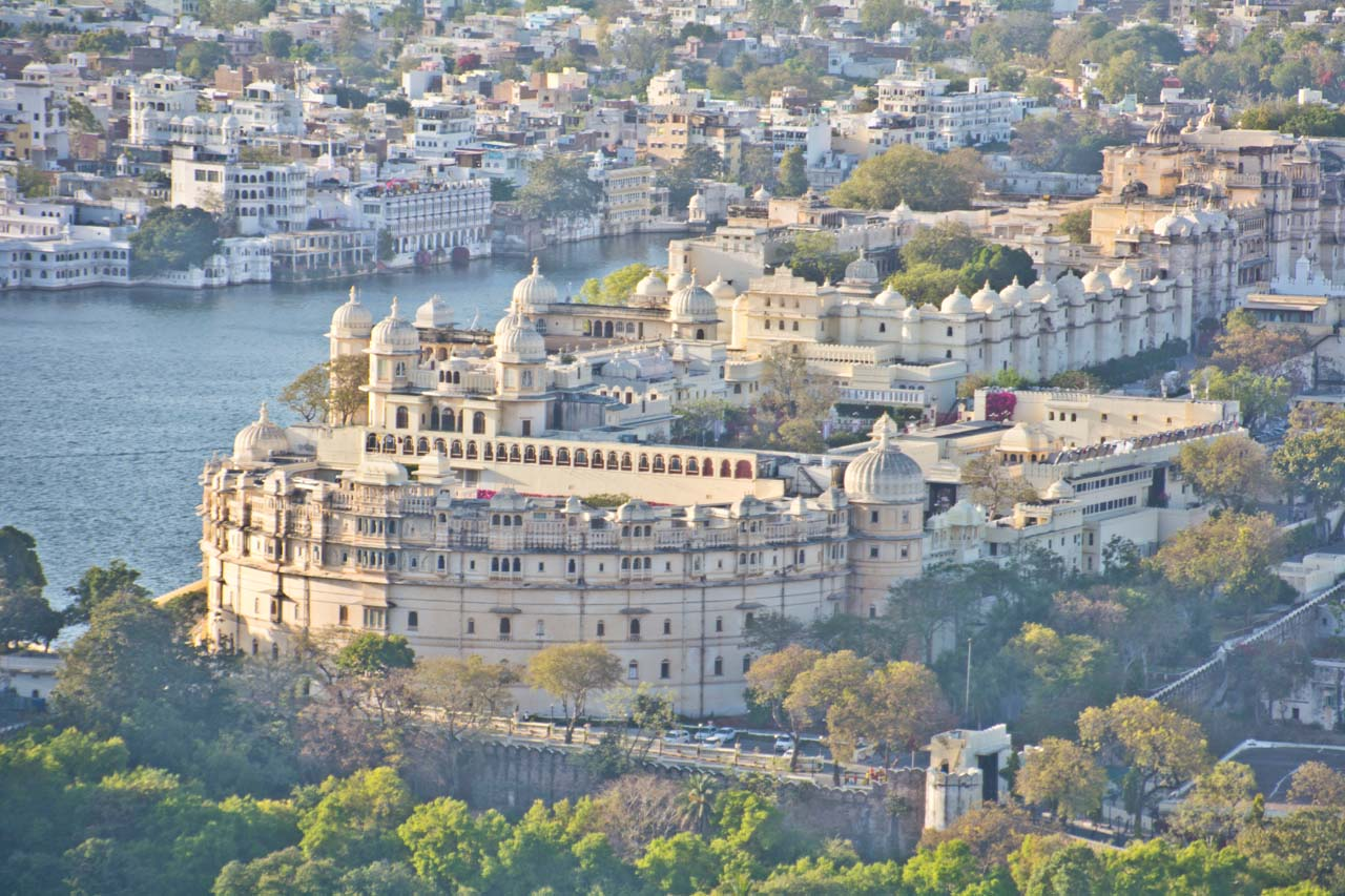 City palace Udaipur from roapway