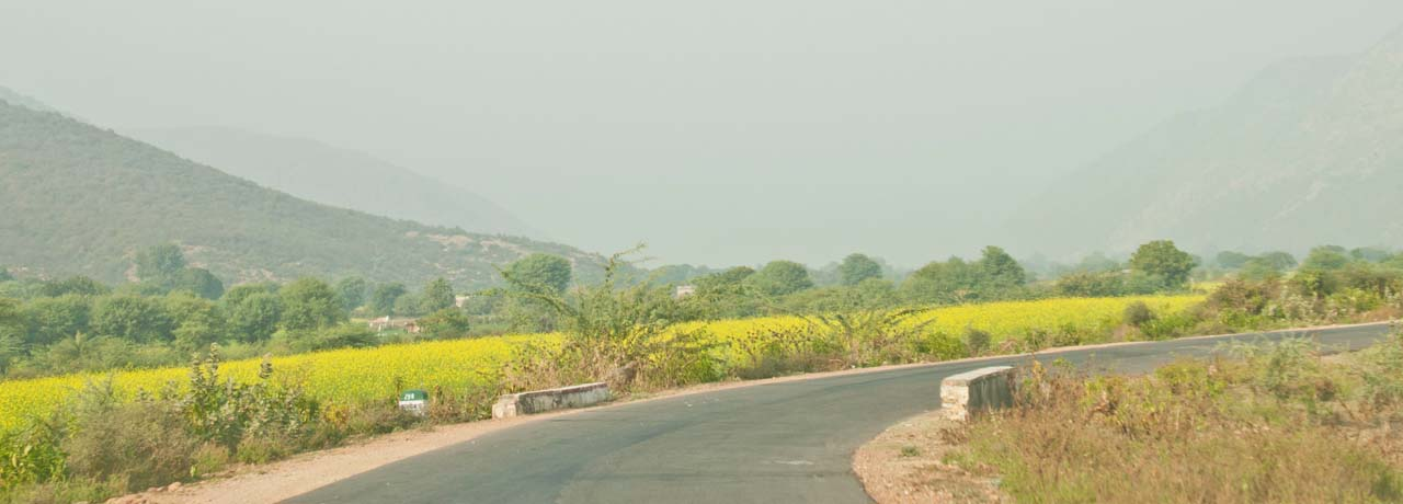 Road on the way to Bhangarh fort
