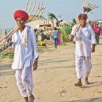Men at Pushkar camel Fair ground