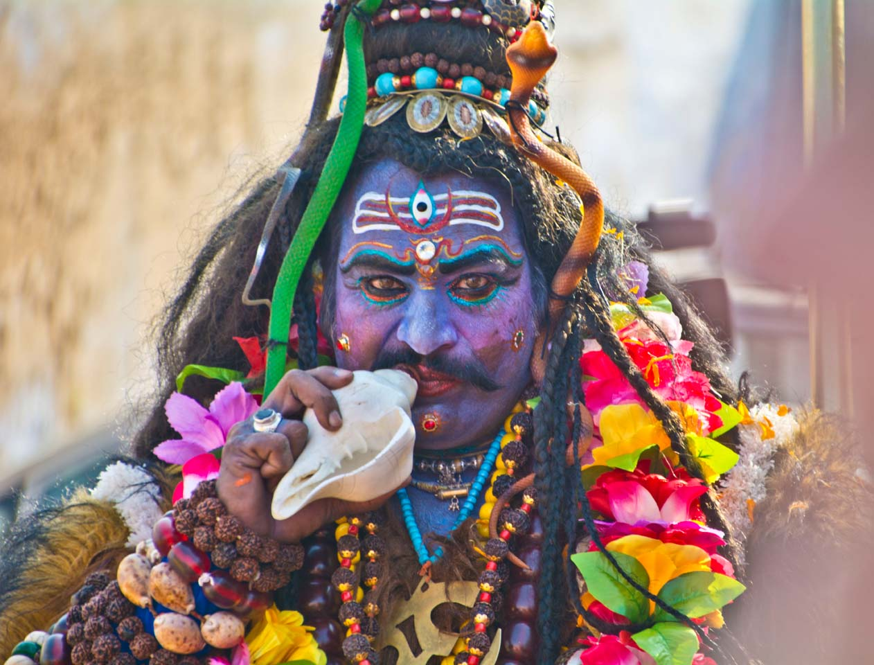Pushkar camel fair Artist with makeup