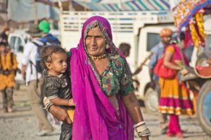 Woman at Pushkar camel Fair ground