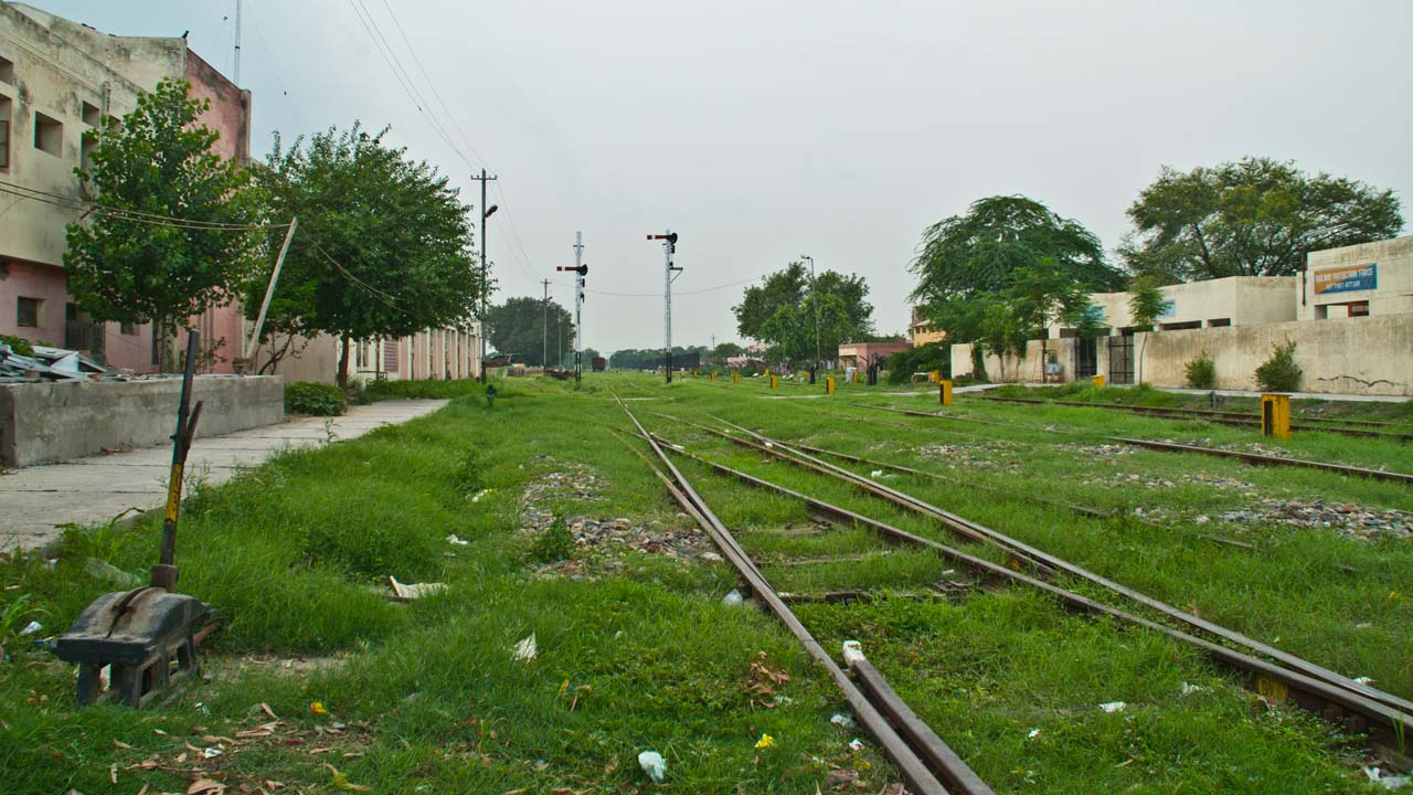 Railway tracks going towards border at Attari railway station Amritsar