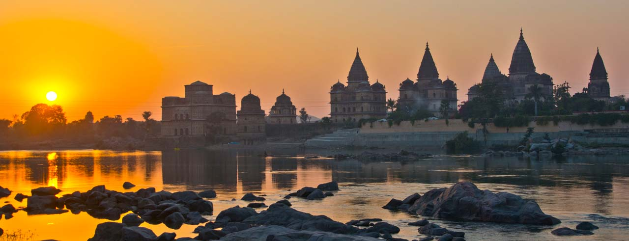 orchha cenotaphs sunset