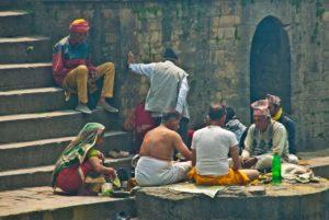 Puja at Bagmati river behind Pashupatinath Temple Kathmandu Nepal