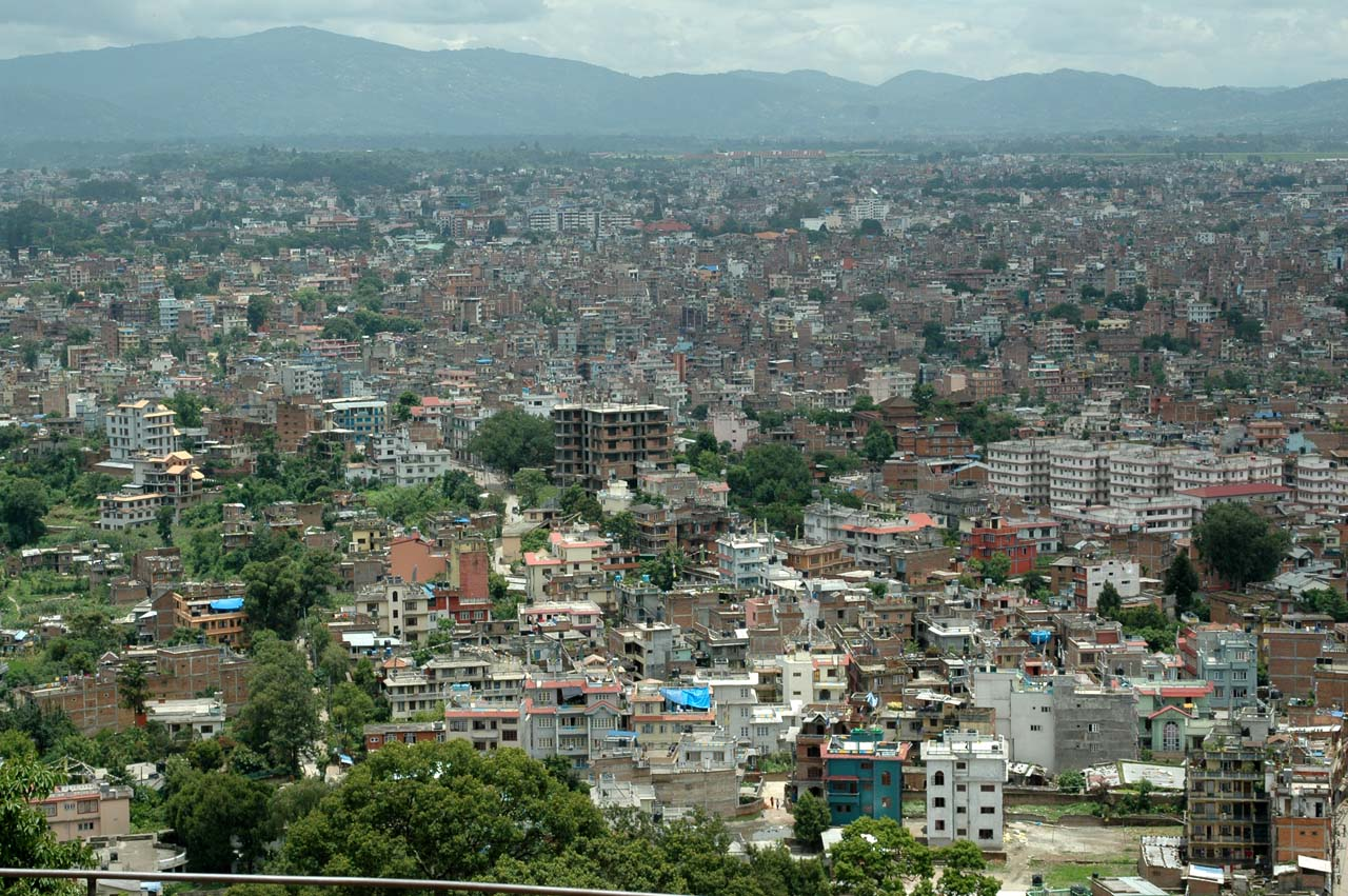 City view from Swyambhunath Temple stairs