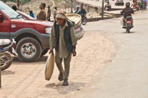 Man carrying a basket