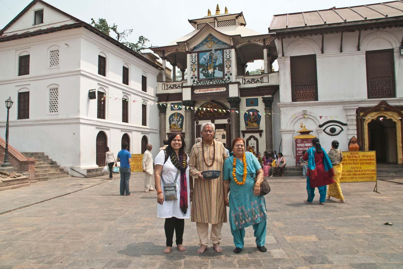 We at gate of Pashupatinath temple Kathmandu Nepal