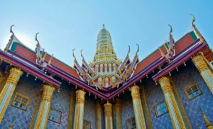 Decoration outside main temple inside Royal palace Bangkok