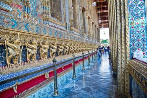 Gallery outside Emerald Buddha temple in Bangkok