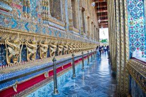 Gallery outside Emerald Buddha temple in Bangkok