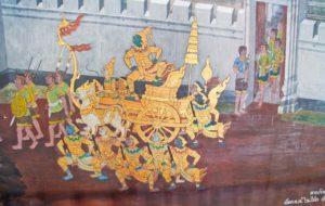 Painting on wall in Royal palace of Bangkok