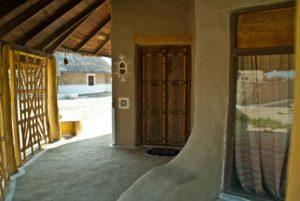 Gate of hut Shaam-e-Sarhad Village Resort Kutch Gujarat