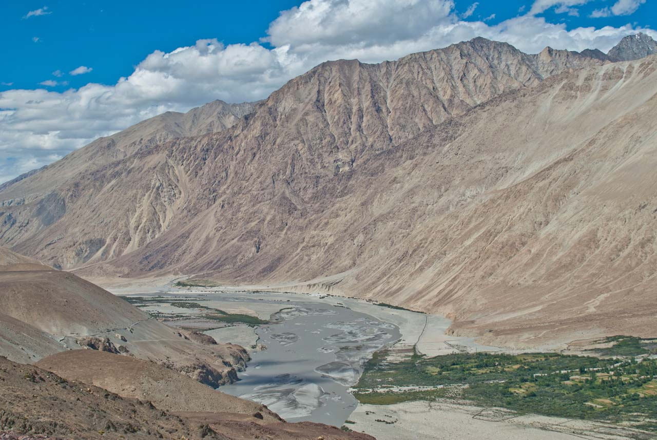 Landscape with river near Leh to Khardungla pass