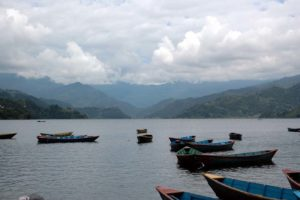 Boats in Phewa Lake Pokhara Nepal