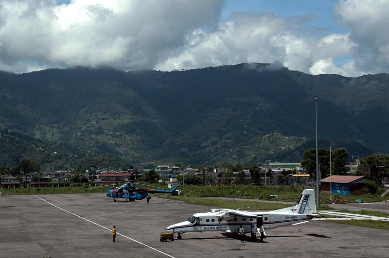 Pokhara airport aeroplane