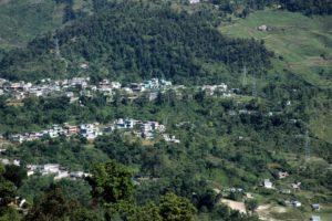View from peace pagoda trek Pokhara Nepal