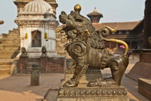 Bhaktapur Durbar Square Lion in metal