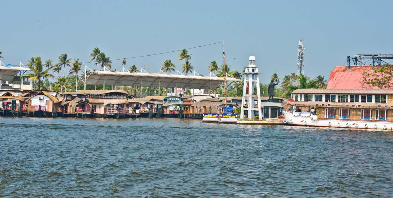 Boat parked backwaters Kerala