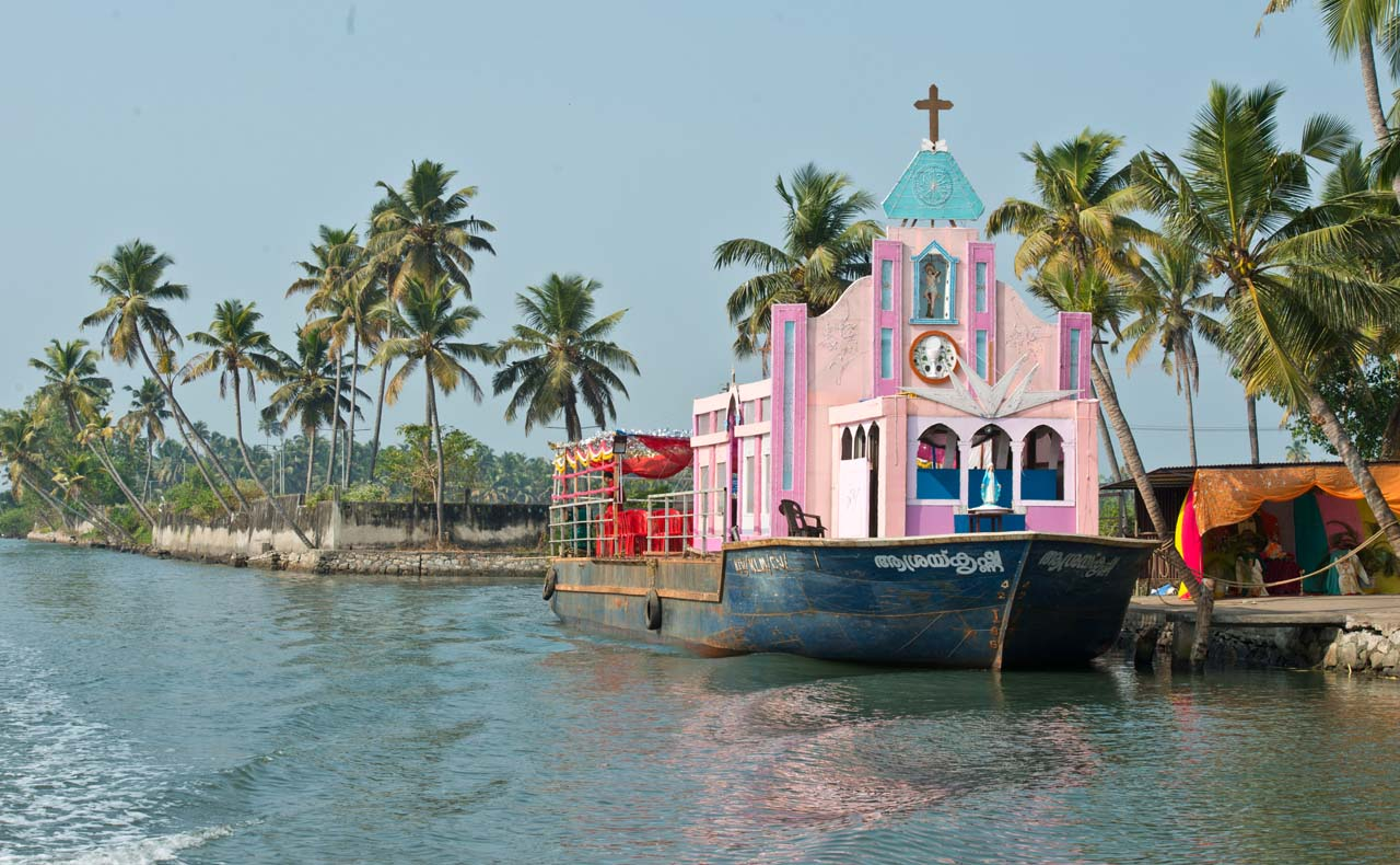 Floating church in the Kerala Backwaters