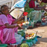 Flower seller at Goa temple