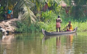 Man woman in Kerala Backwaters