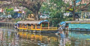 Shikara boat in Kerala Backwaters