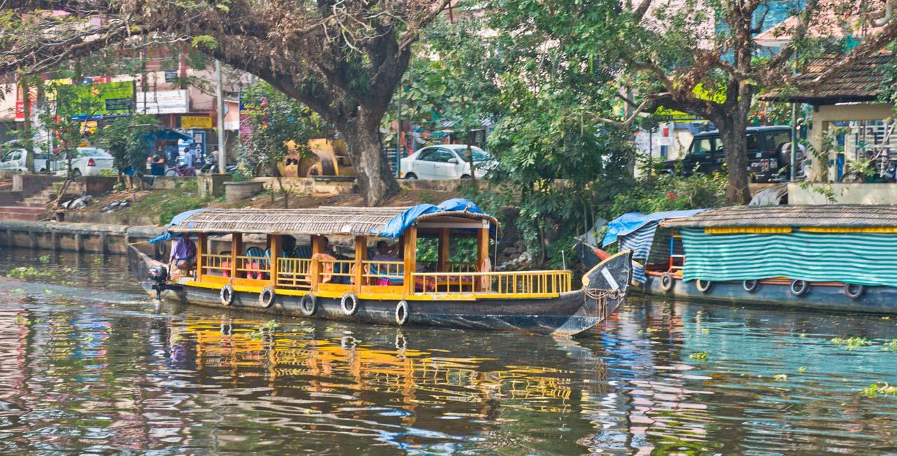 Shikara boat in Kerala Backwaters