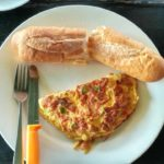 Spanish Omelete and bread in Sihanoukville Cambodia