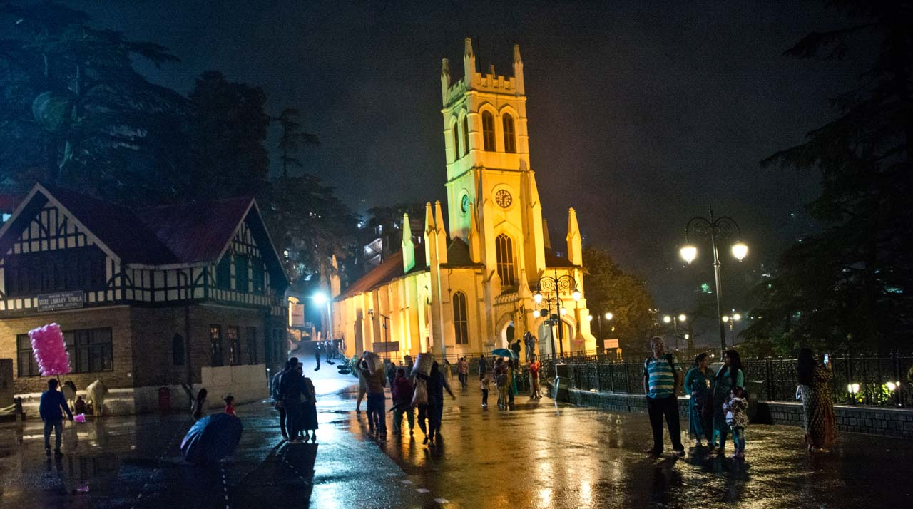 Christ Church Shimla and library at night