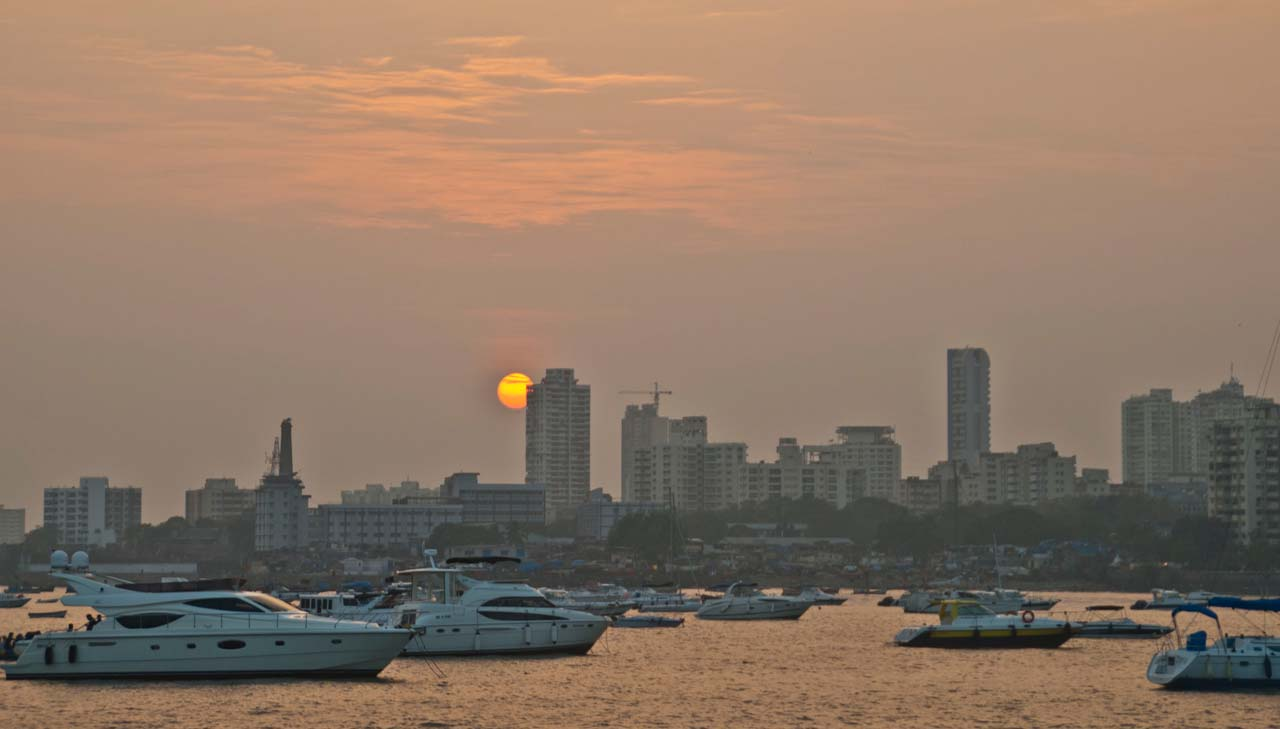 Mumbai Skyline from ferry coming from Alibaug