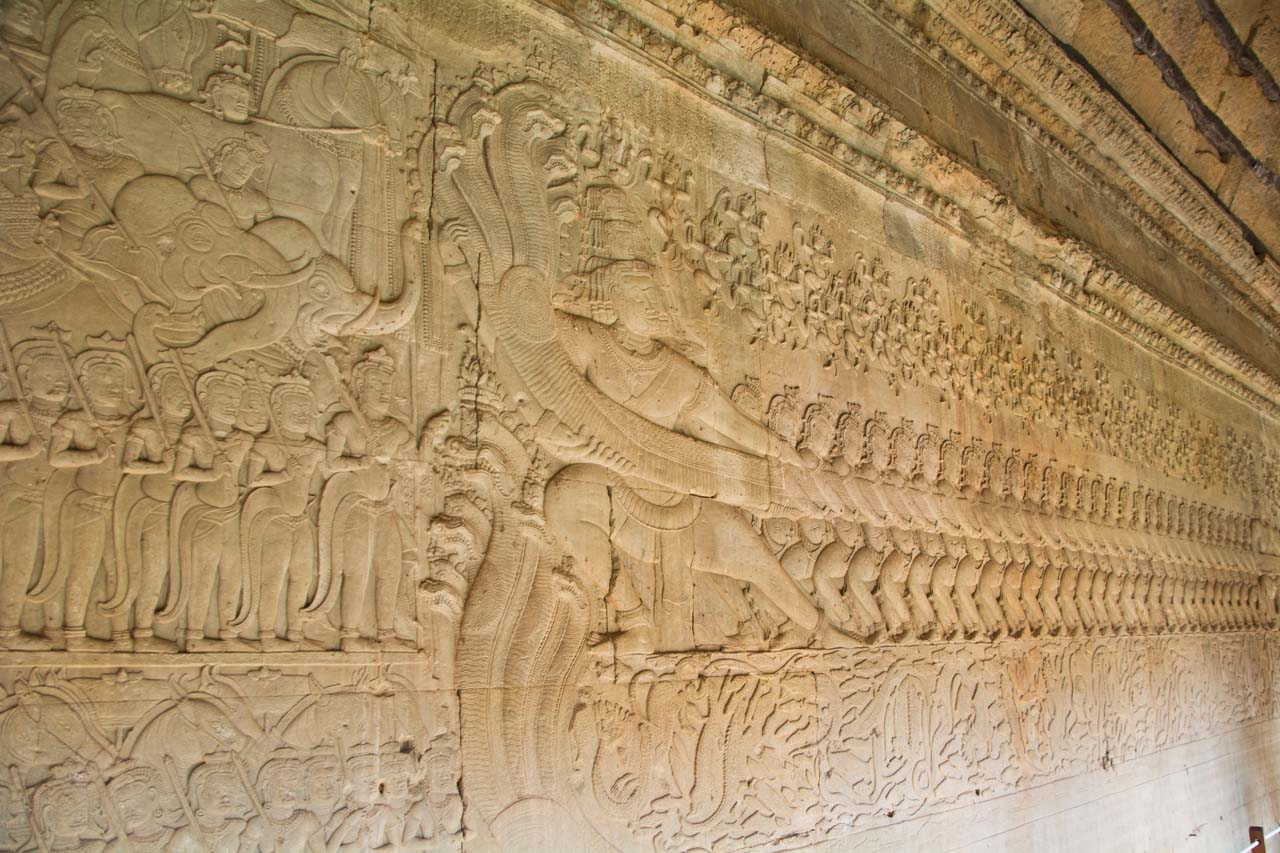 Sea churning Scene in Bas Relief, Gallery around Angkor Wat