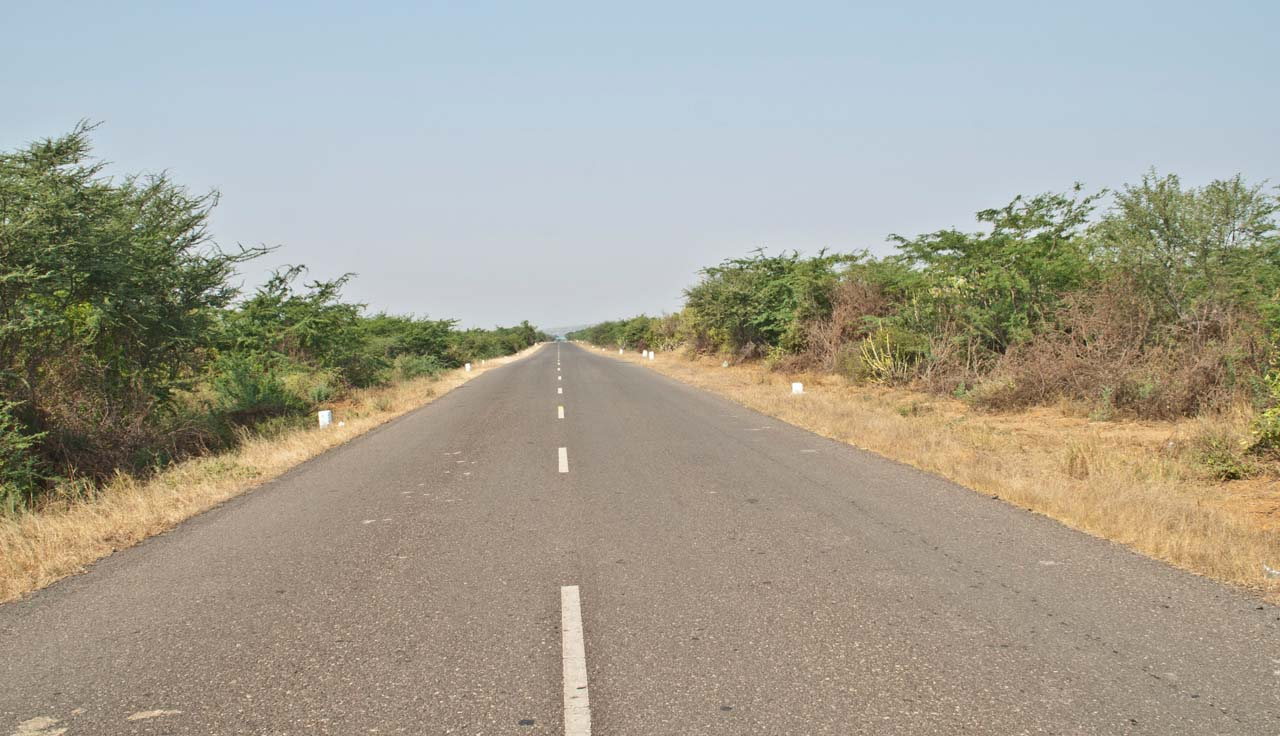 Empty Road towards Lakhpat