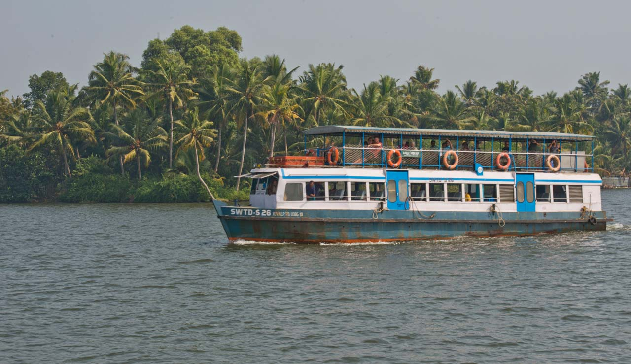 State Water Transport Department boat in Kerala Backwaters