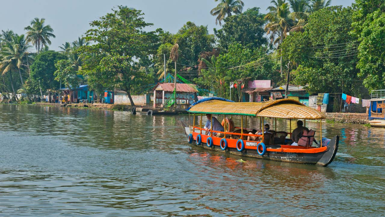 Shikara boats in Kerala Backwaters