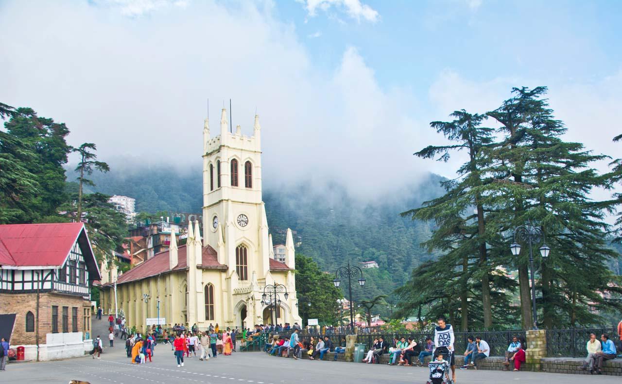 Christ church Shimla with clouds