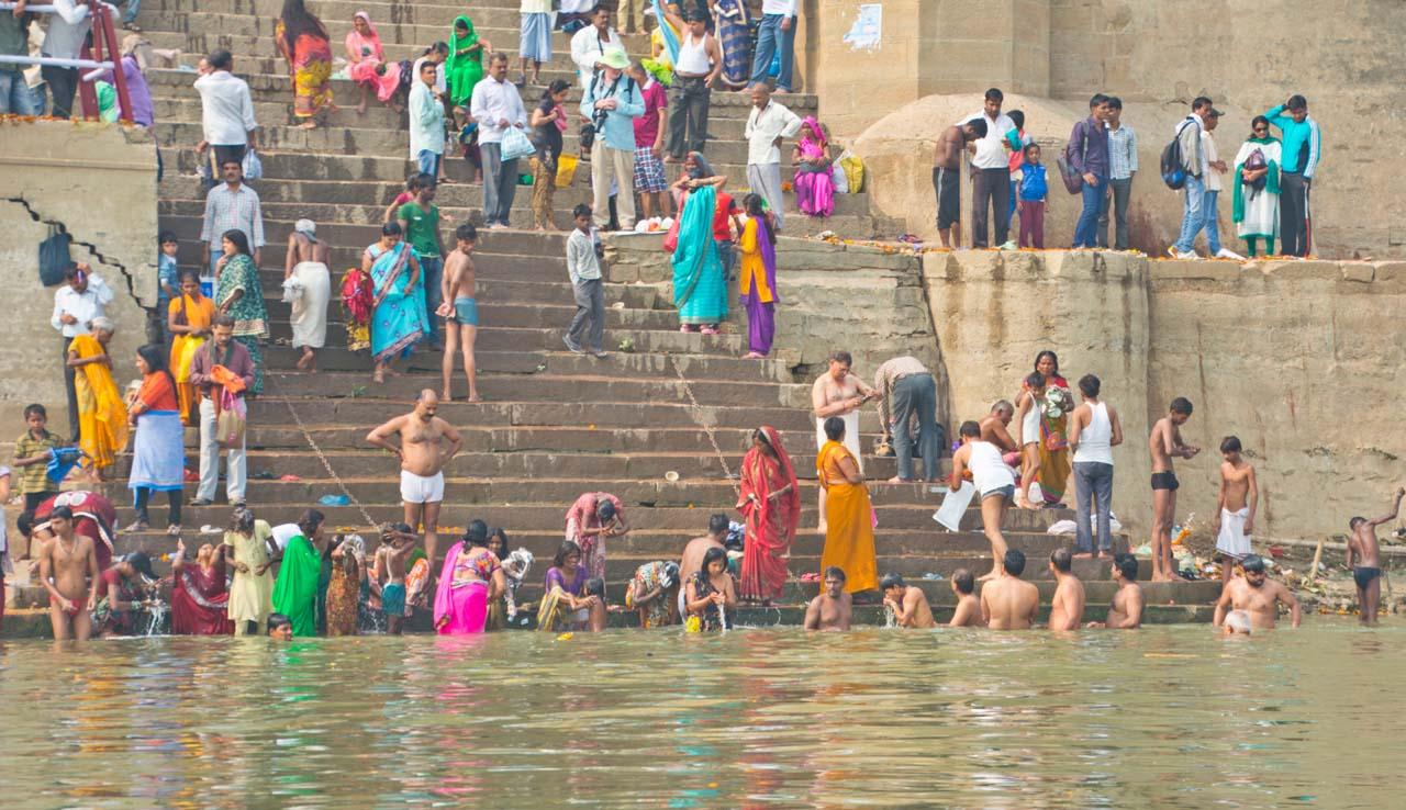People taking dip in Ganga