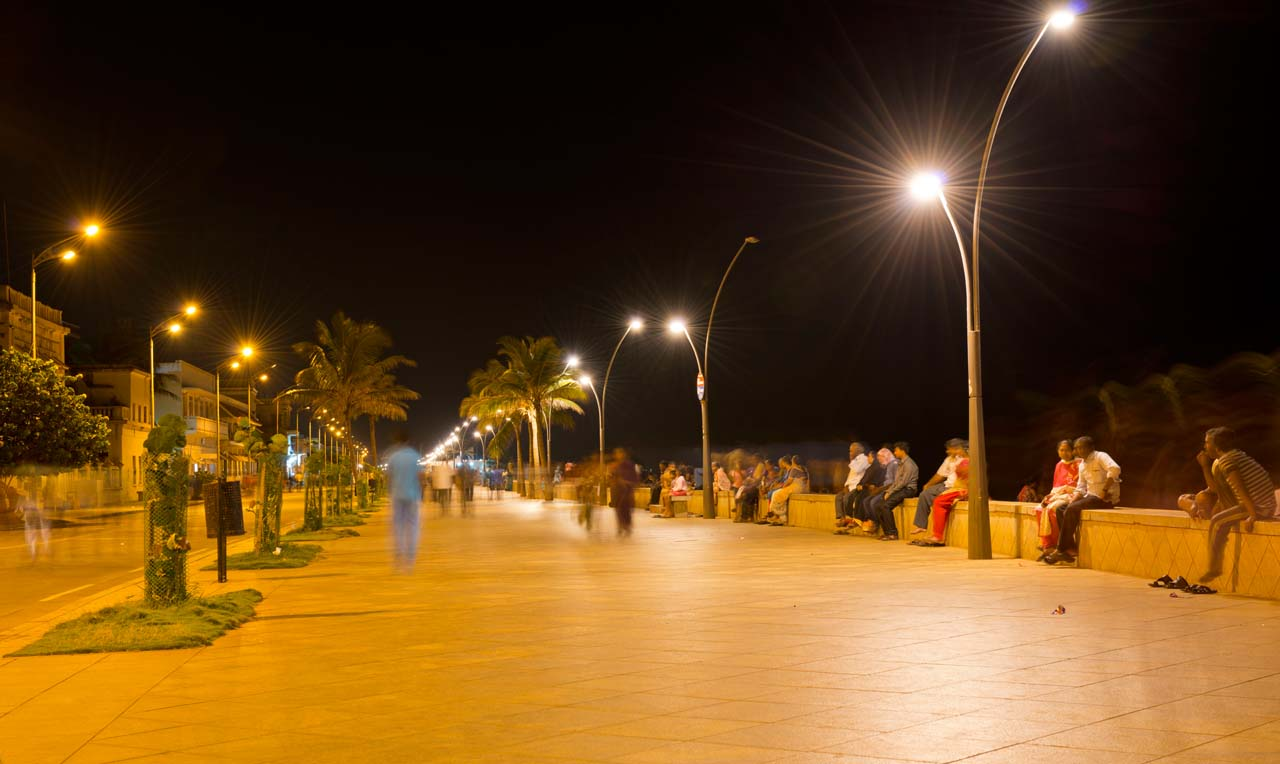 Promenade Beach Pondicherry at night