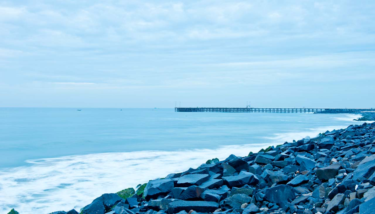 Pondicherry rock beach and pier