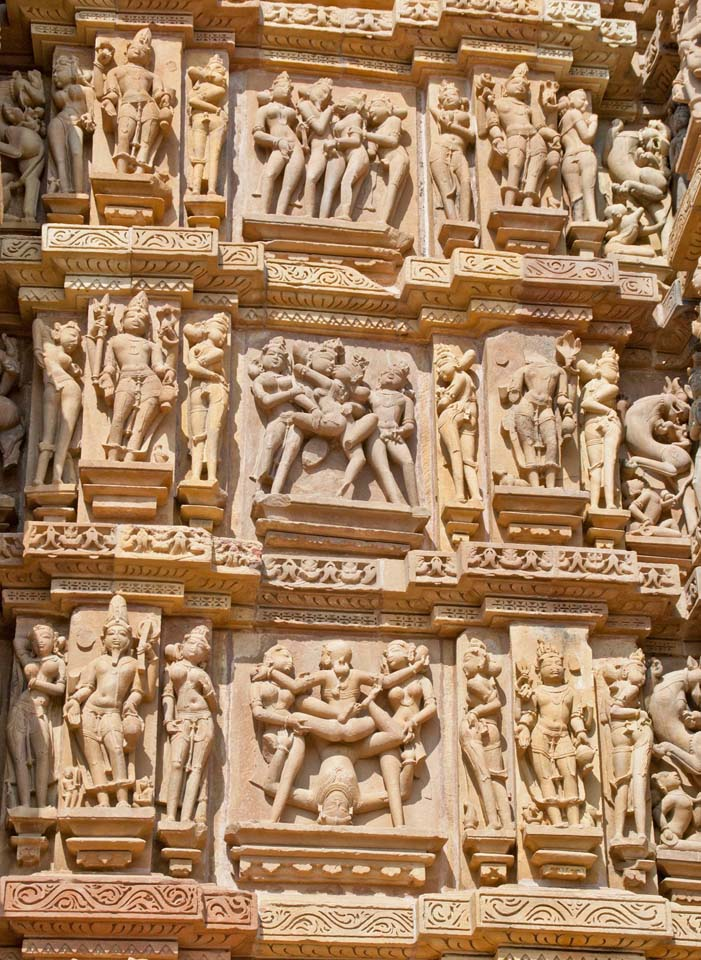 Erotic sculptures of Khajuraho temple walls