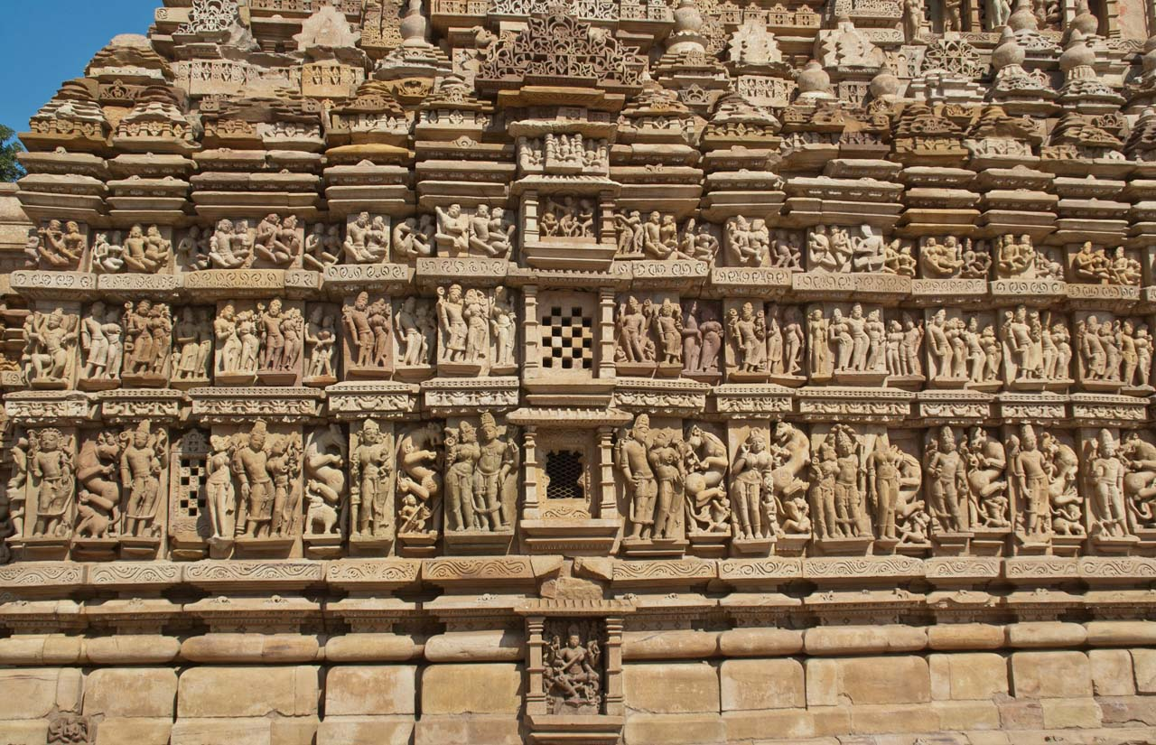 Statues on Khajuraho temple walls